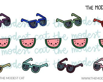e09f5336e74 Hand Drawn Sunglasses and Watermelon Stickers - Mini Sheet of Planner