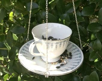 Upcycled Teacup Bird Feeder Vintage Floral Bird Feeder Etsy