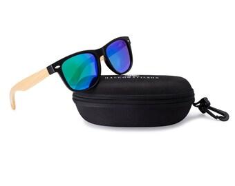 310e7dd2d0 Wooden Wayfarer Sunglasses by Halcom Stilson. Eco-Friendly Bamboo Arms with  Polarized Lenses. 100% UV Protection for Men   Women.