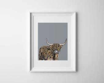 Highland Cow on Grey A4 Nursery Print