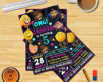 emoji invitations emoji birthday invitations emoji pool party etsy