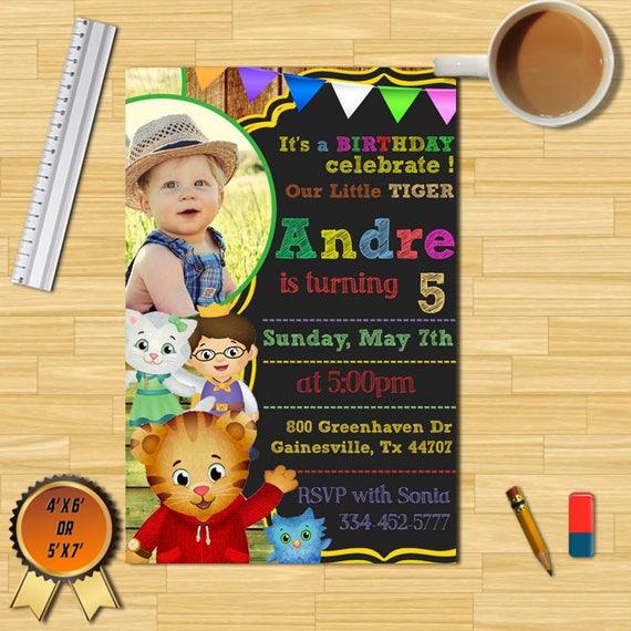 Daniel Tiger Birthday Party Invitation With Photodaniel Tiger Etsy