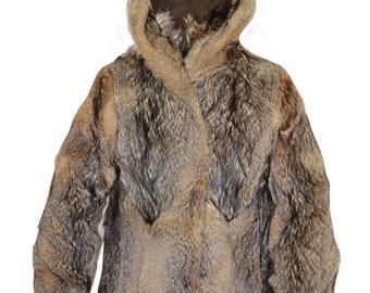 MEN'S Real Coyote Fur Full Pelts Hooded Bomber Jacket Coat Parka Puffer M-L
