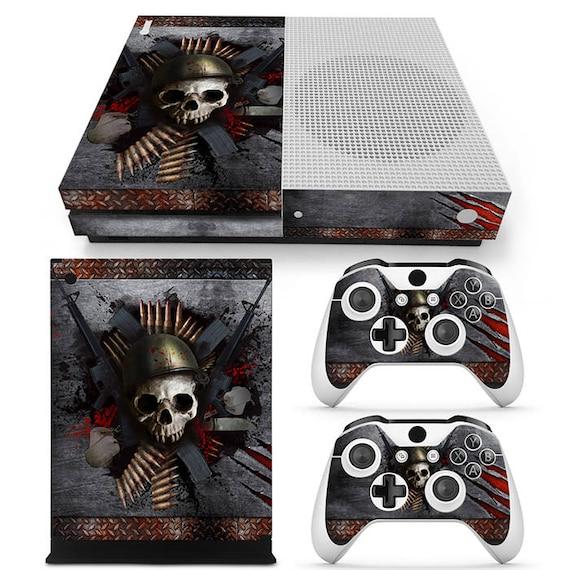 Xbox One S Console peau Sticker autocollant tête de mort métal Design + 2 contrôleur peau Set