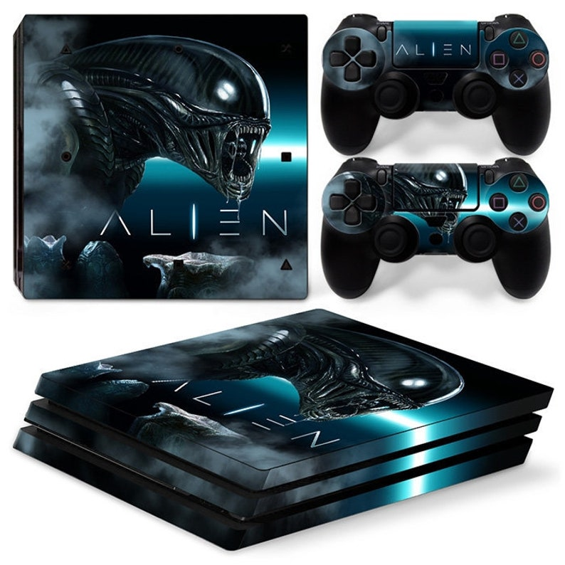 PS4 Pro Playstation 4 Console Skin Decal Sticker Alien Custom Design Set