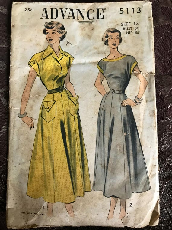 1949 Complete Nice Advance Sewing Pattern 5113 Vintage Sewing Etsy
