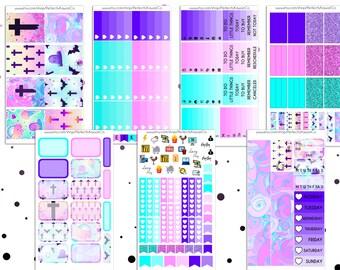 Pastel Goth- Weekly Sticker Kit For Erin Condren Vertical Planner