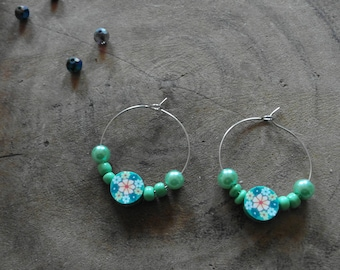 Green beads with flower polymer clay earrings