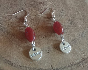 Earring of natural stone Carnelian
