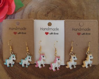 Super Cute earrings My Little Pony/unicorn earrings for kids and Adults blue, pink & Beige