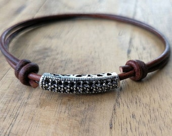 Brass cylinder pendant and brown genuine leather lace braceletAnniversaryBirthdayCristmasNew year gift