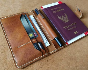 Free name stamping/ Complex leather passport case/passport cover/ organizer