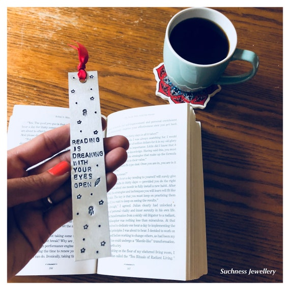 Handstamped Bookmarks/ Customized/ Inspirational/ Motivational/ Aluminium/ Unique Gift/ Handmade/ Bookworm by Etsy