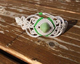 Macrame bracelet with green stone