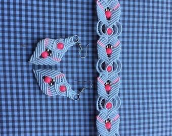 Set macrame earrings and bracelet