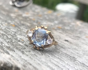 Vintage aquamarine and topaz ring