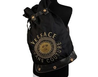 VERSACE JEANS COUTURE - Rare Vintage Black Nylon Sailor Shoulder Bucket Bag