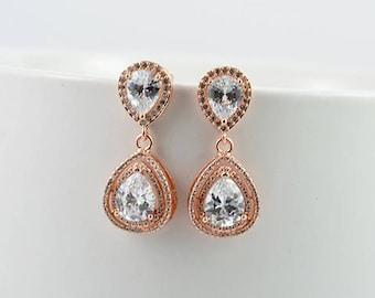 Rose Gold Bridal Earrings, Cubic Zirconia Drop Earrings, Elegant Bridal Wedding Crystal Earrings, Bridesmaids Earrings Jewellery Gift