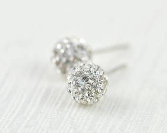 38fe0e686 Simple Disco Ball Silver Crystal Stud Earrings, Cubic Zirconia Crystal  Earrings, Bridesmaids Studs Bridal Round Earrings Wedding Jewellery