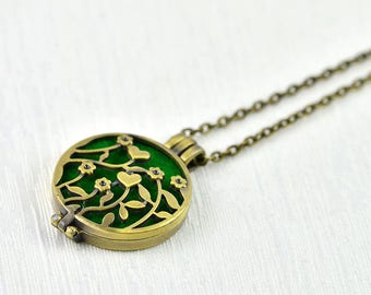 Aromatherapy Diffuser Essential Oils Necklace, Diffuser Necklace Jewellery, Bronze Filigree Flower Necklace, Oil Diffuser Pendant Necklace