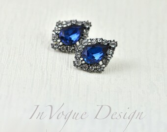 Vintage Style Drop Sapphire Bridal Earrings, Bridal jewellery Sapphire Glass Crystal Earrings, Sapphire Bridesmaids Wedding Classic Earrings