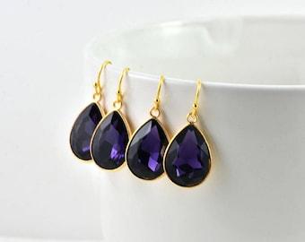 Amethyst Gold Earrings, Bridal Earrings, Amethyst Bridesmaids Earrings, Amethyst Drop Glass Earrings, Teardrop Dangle Earrings Jewellery