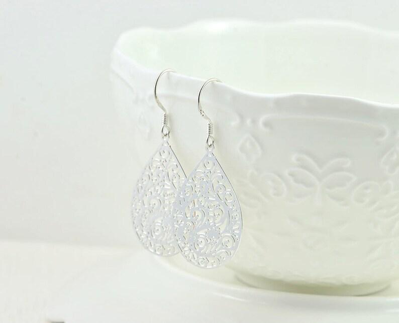Elegant Teardrop Filigree Silver Earrings Everyday Mothers Day Teardrop Bridesmaids Silver Jewellery Gift Simple Silver Drop Earrings