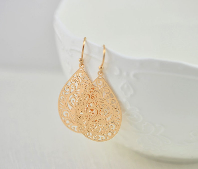 8225acfab Simple Rose Gold Drop Earrings Elegant Drop Filigree Rose | Etsy
