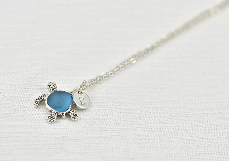 Elegant Turtle Initials Silver Necklace Simple Letter Tortoise Necklace Turtle Dainty Silver Personalised Initial Small Turtle Necklace