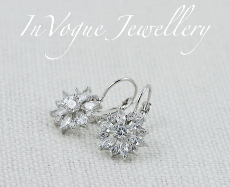 Bridal Flower Earrings Wedding Jewelry Bridesmaids Cubic Zirconia Earrings Lever Back Crystal Earrings Floral Rose Gold Earrings