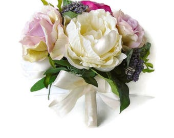 Silk Bridal Bouquet / Wedding Posy Bouquet / Brides silk bouquet / Artificial bridal bouquet. Free Delivery