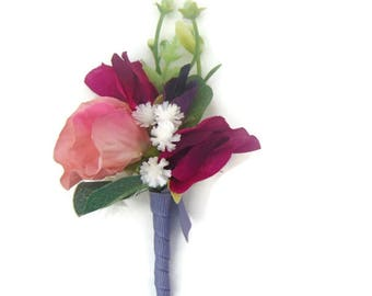 Silk Sweet Pea and Gypsophila Buttonhole / Corsage / boutonniere Free Delivery