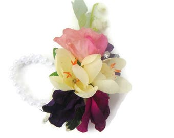 Lily of the Valley, Sweet Pea & Dimante Wrist Corsage, Corsage Bracelet in Silk Free Delivery