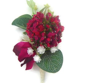 Snowball, Gypsophila, Sweet Pea Buttonhole / Corsage / boutonniere in Silk Free Delivery