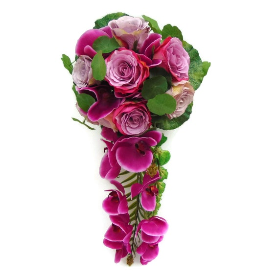 Pink Rose And Orchid Wedding Bouquet Pink Orchid And Rose Etsy