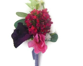 Snowball, Gypsophila and Sweet Pea Buttonhole / Corsage / boutonniere in Silk Free Delivery