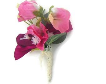 SilkGypsophila and Sweet Pea Buttonhole / Corsage / boutonniere Free Delivery