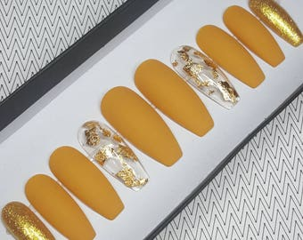 Dijon Mustard Press On Nails Oval Yellow Glue Gold Foil Flakes Fake Matte Holiday