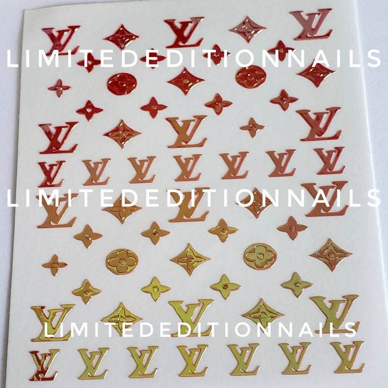 Designer Nail Stickers Pink and Gold Nail Decals Opal Nail | Etsy