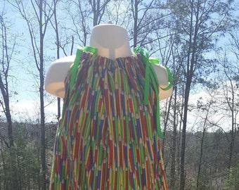 Pillowcase dress pillow case dress primary colors dress pencil dress school dress girls dress