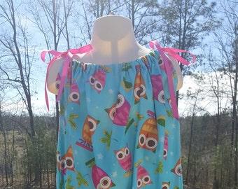 Pillowcase dress pillow case dress owl dress owls dress girls dress