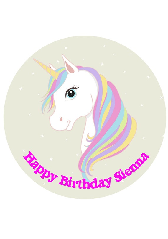Unicorn Edible Image Icing Sheet Unicorn Cake Topper Etsy
