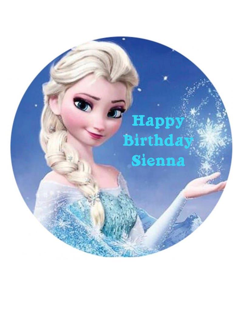 bdf75dac4b Frozen Edible Image Cake Topper Elsa Round Cake Topper