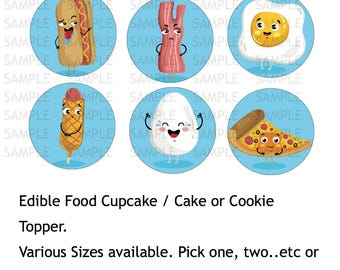 Food  Cartoon Icing Sheet Edible Image Cupcake Cookie or Cake Toppers