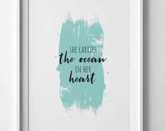 Ocean Wall Art / Quote Wall Art / Typography Quote Art / Teal Wall Art / Beach Wall Art