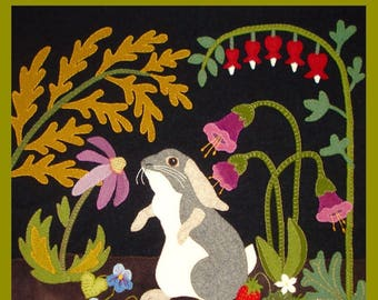 A Garden Intruder - SUMMER: Rabbit, Primitive, Whimsical, Wool Appliqué PATTERN, Sweet Quilt - Flat Rate FREE shipping