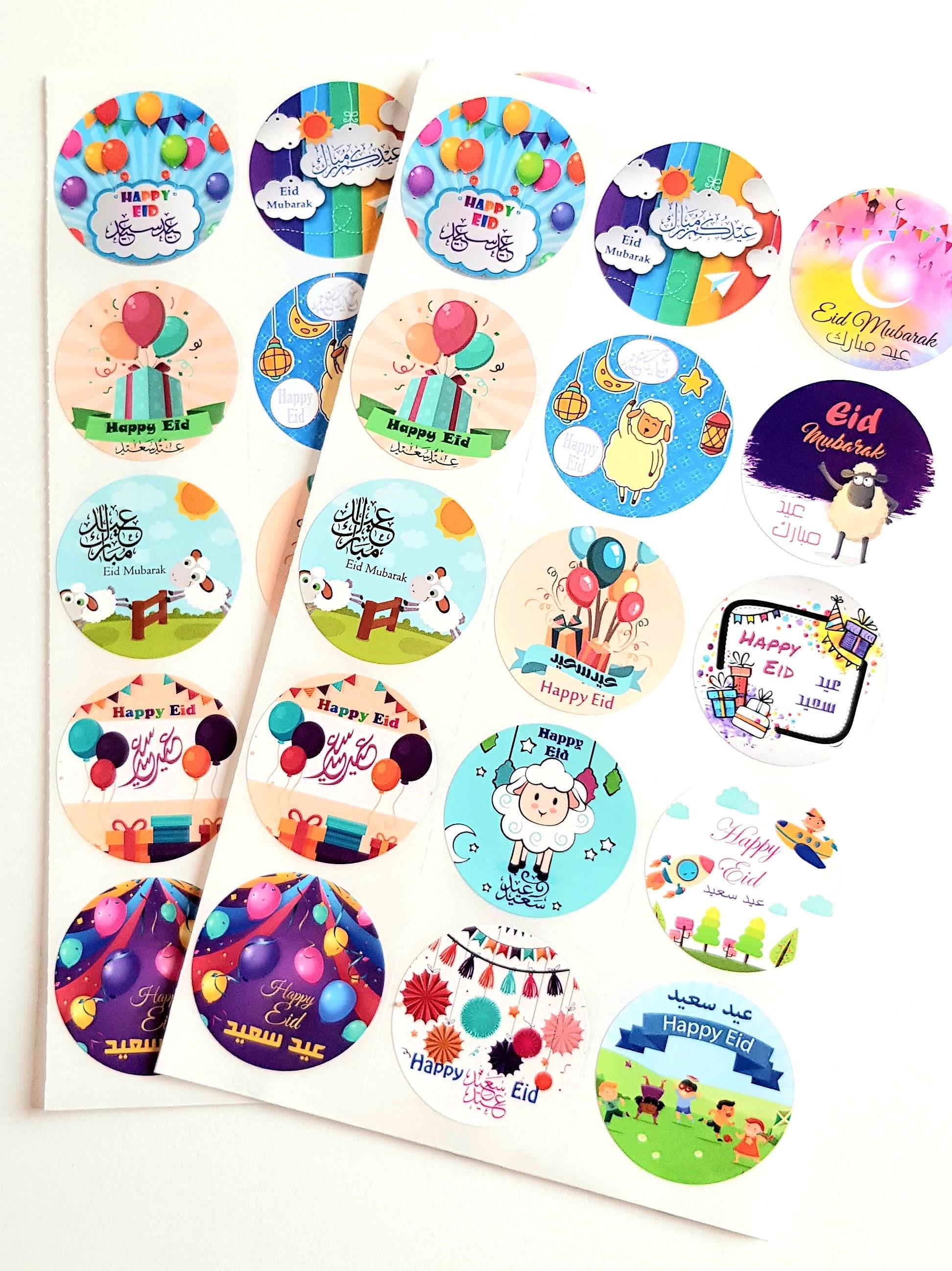 30 Eid Mubarak Round Shape Stickers For Kids Eid Decoration Etsy