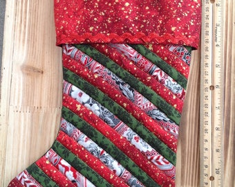 Quilted Christmas Stocking, country christmas stocking, christmas stocking, stockings