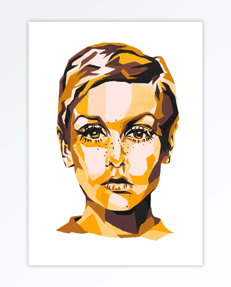 Twiggy Inspired Poster  1960s Art Style  Celebrity Pop Art  Yellow on White