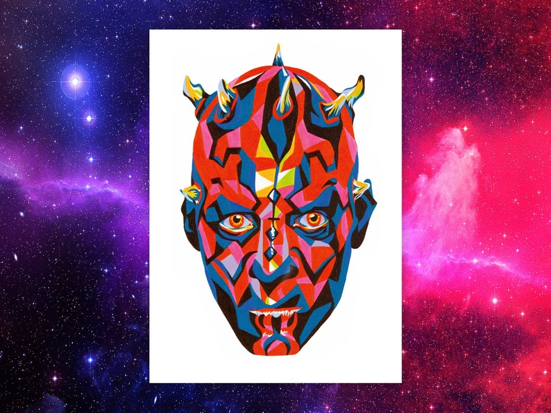Star Wars Darth Maul Inspired Wall Art Print  Star Wars Gifts image 0